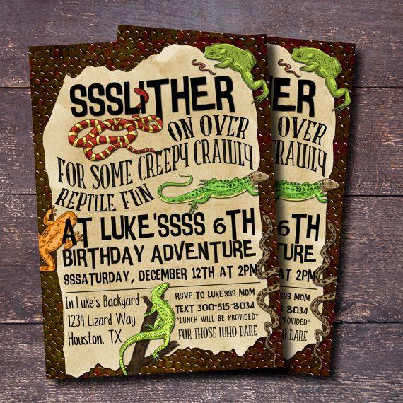 Reptile Party Invitation Boys Birthday Invitation Reptile Themed