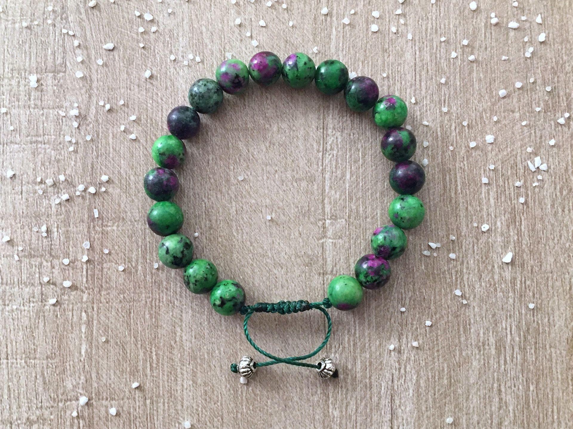 Bracelet homme ou femme, rubis zoïsite, perles en pierres naturelle,  bien,être