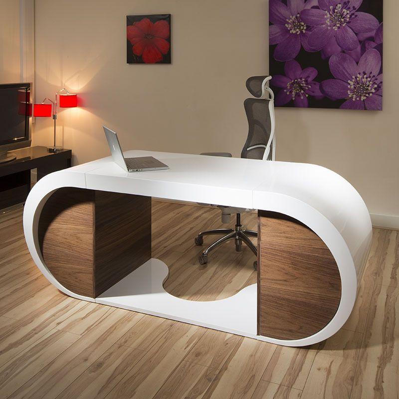 Large Modern Designer Desk Work Station White Gloss Glossy Walnut 2 0m Desk Design Modern Home Office Furniture Home Office Design