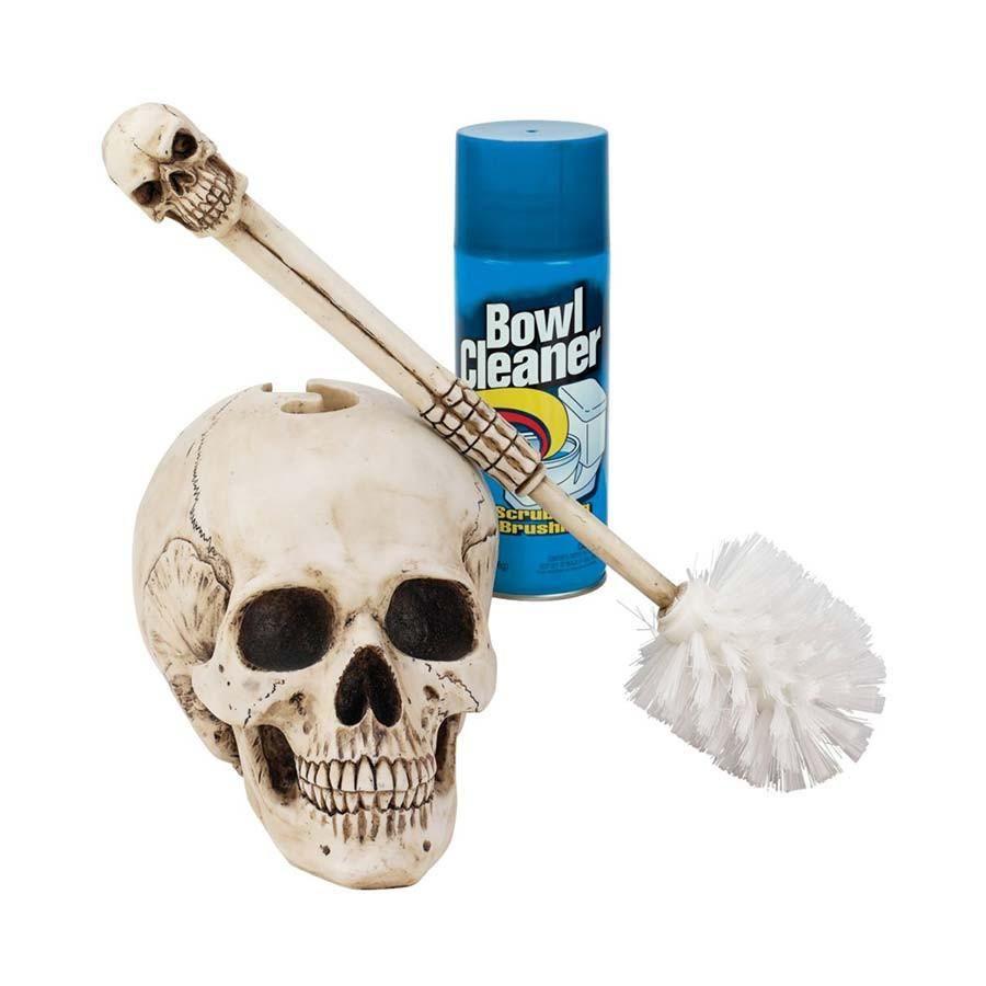 Photo of 16″ Gothic Skull Statue Sculpture Decorative Bathroom Toilet Bowl Brush
