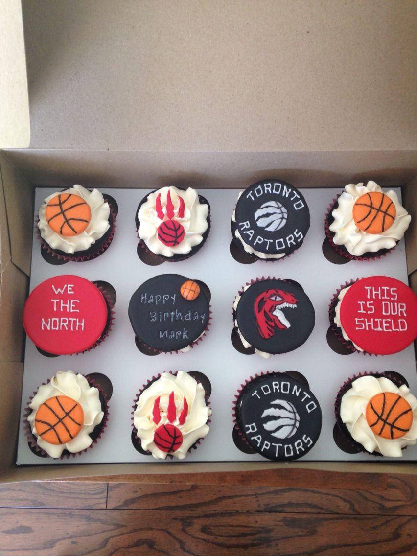Toronto Raptors cupcake toppers. Basketball cake