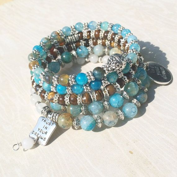 Gemstone Memory Wire Inspirational Charm Bracelet with Blue Agate ...