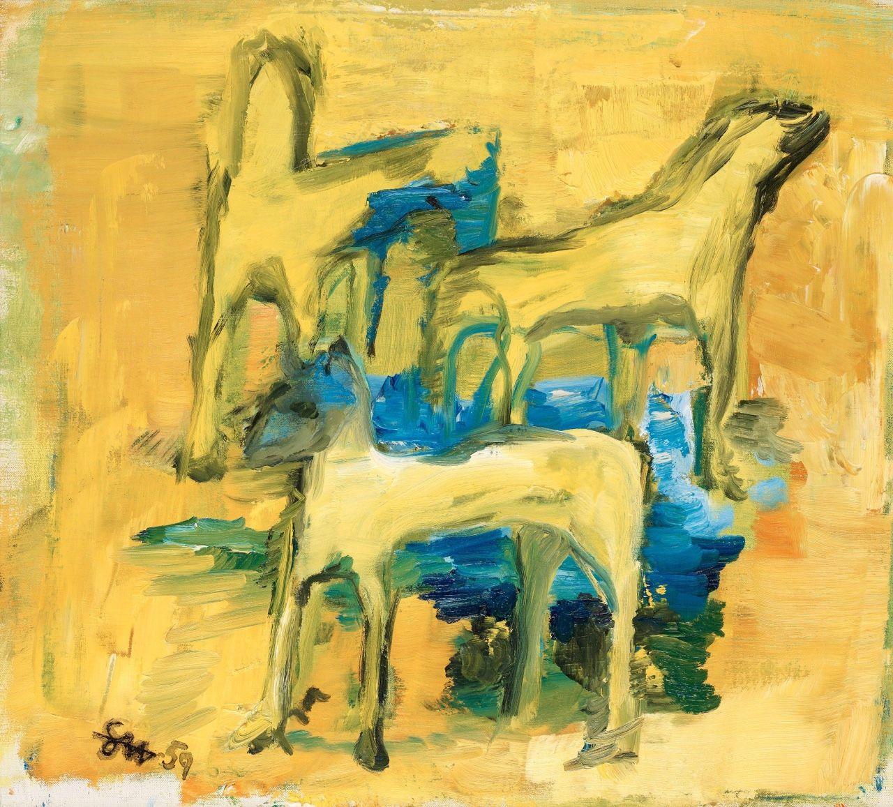 "terminusantequem: "" Staffan Hallstrom (Swedish, 1914-1976), Nobodys dogs, 1959. Oil on canvas, 50.00 x 55.00 cm """