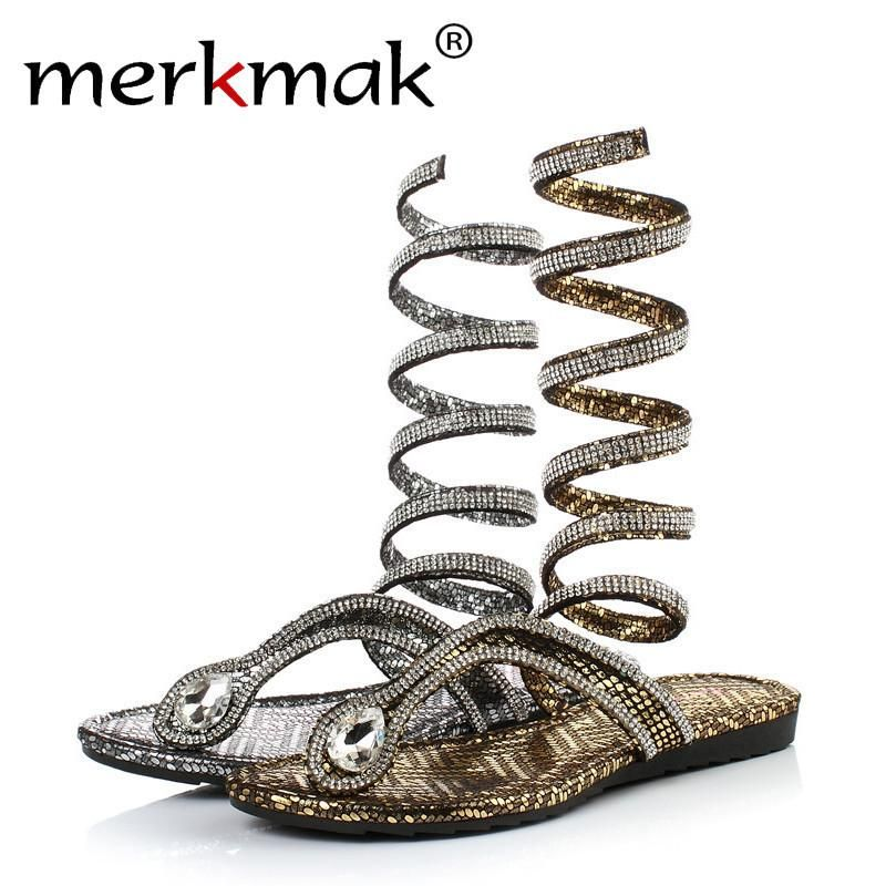 820781d53e08a Luxury Crystal Snake Design Thong Flat Gladiator Sandal Ankle Wrap Flip  Flips