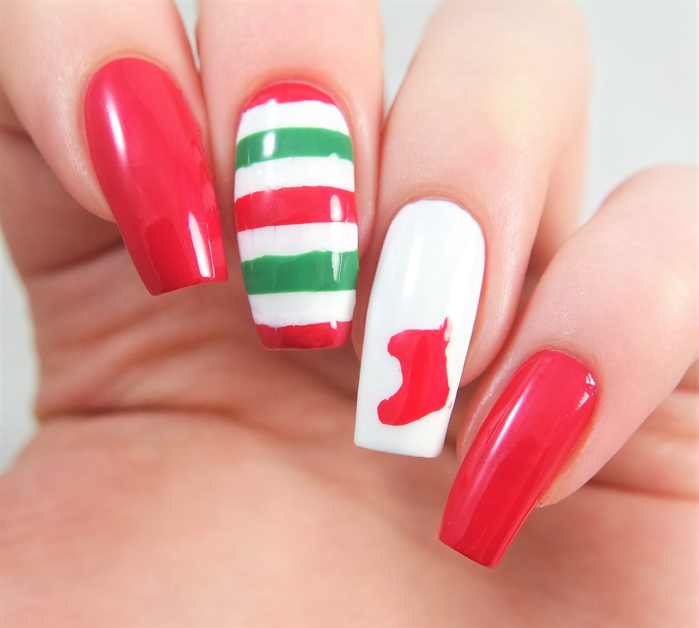 Fun holiday manicure using our Christmas Stocking Nail Decals and ...