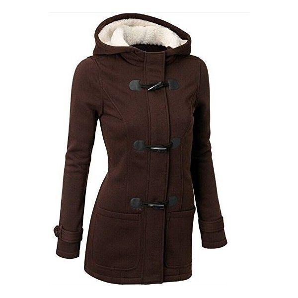 Ramonala Women's Fleece Jacket Duffle Style Toggle Hoodie Pea Coat ...