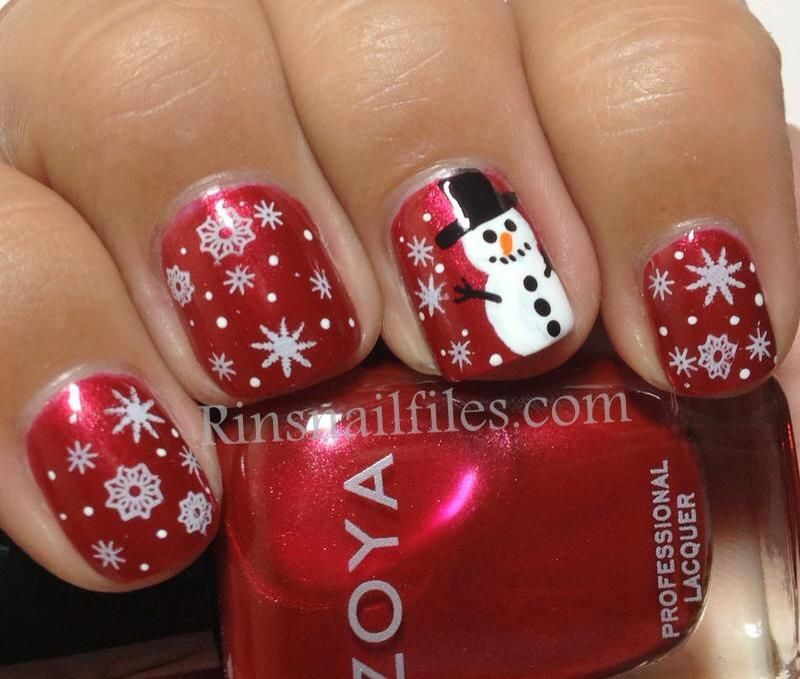 Snowman Nail Christmas December January Snowflake Art