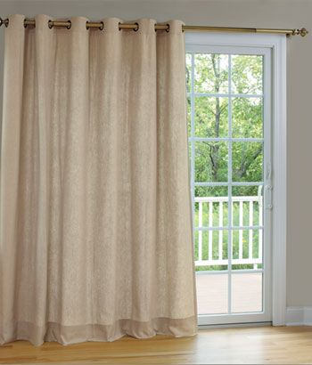 Homespun Linen Lined Interlined Grommet Patio Panel With Detachable Wand