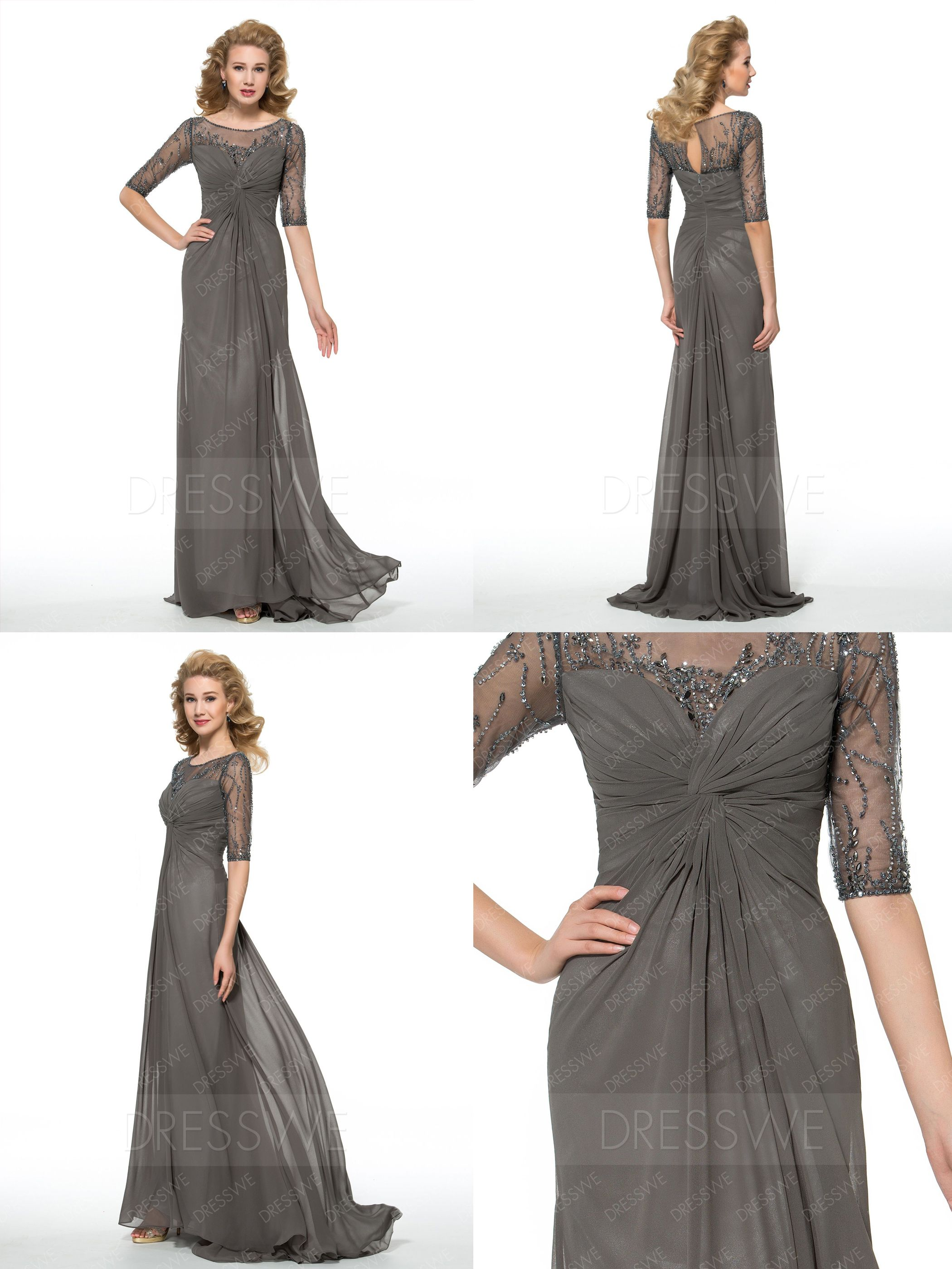 Silk sheath wedding dress  Elegant Beading Composite Silk Sheath Mother of the Bride Dress