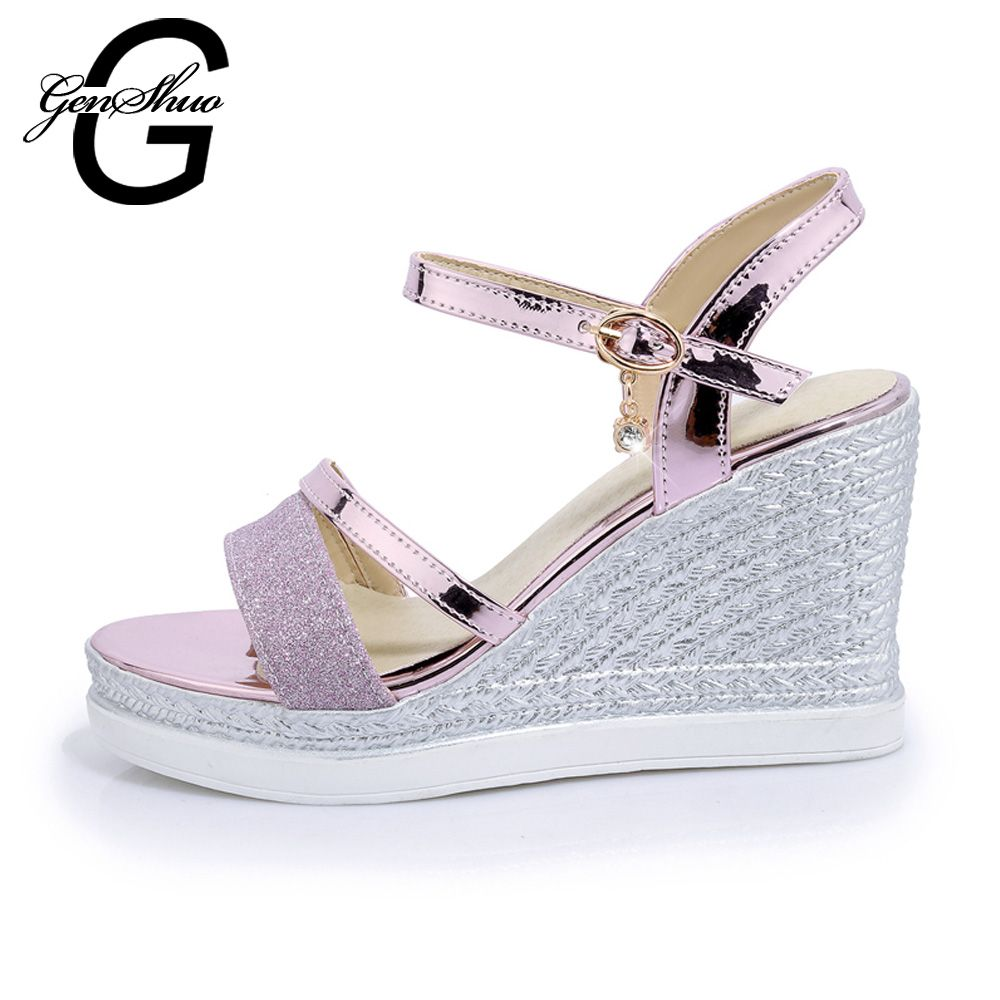 3fbe90e00d91c8 GENSHUO 2017 Big Size 43 women Summer Sandals Women s Pure Color Wedge Sandals  Fashion Leisure Sandals