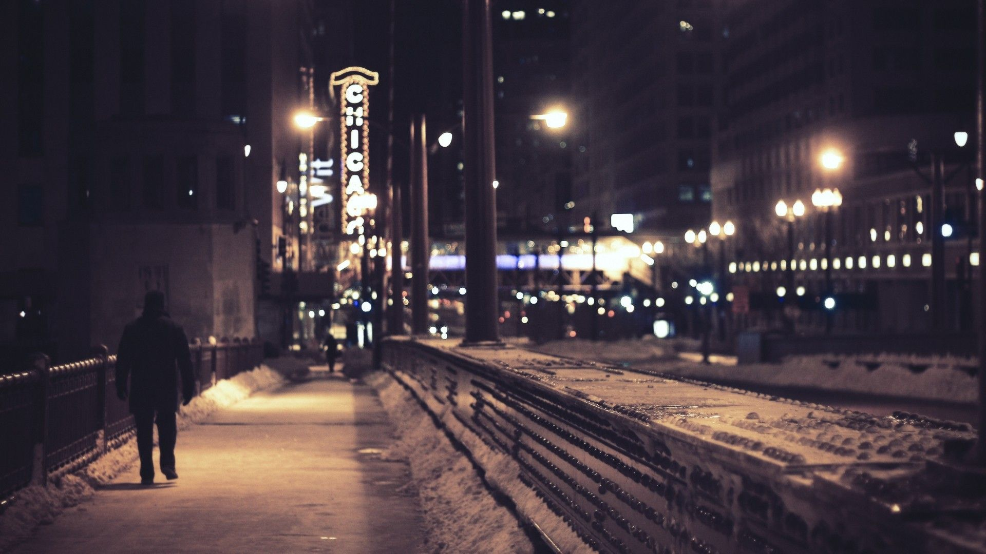 Urban City Night Chicago Cityscape Wallpaper Winter