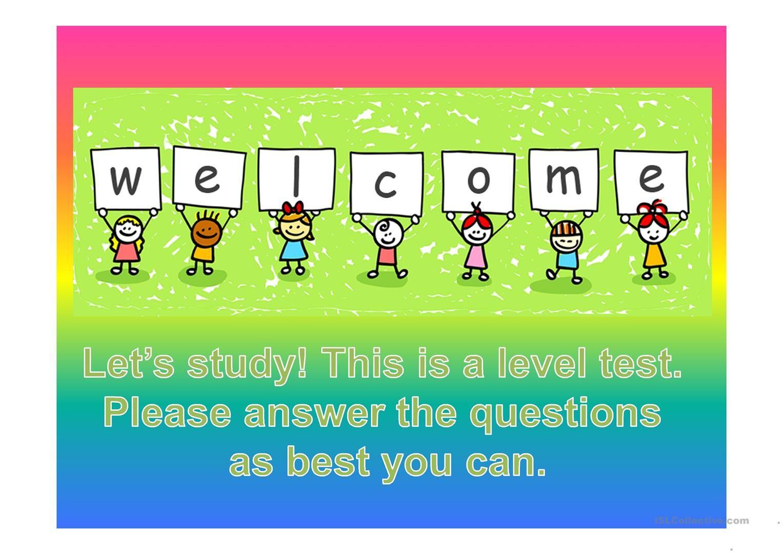 Level Assessment Activity For Esl Kids