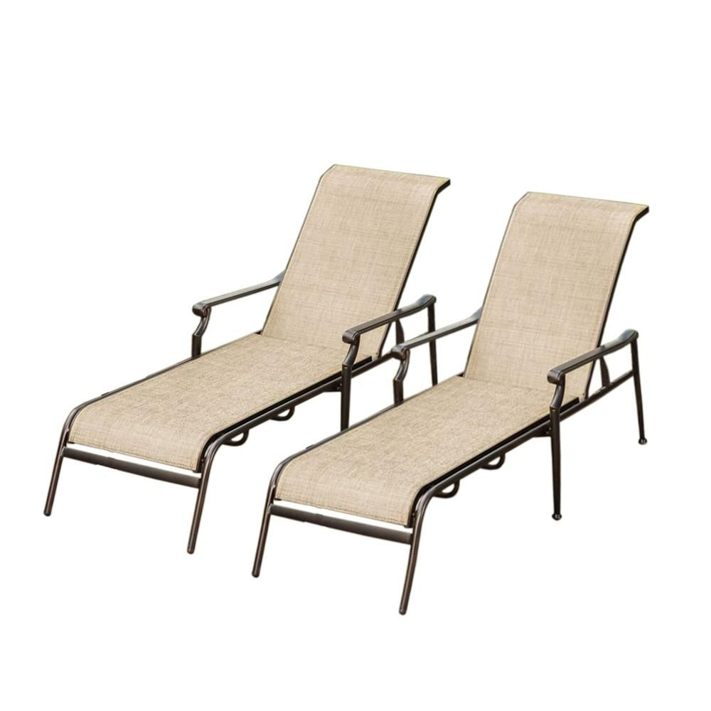 Bali Sling Aluminum Metal Outdoor Indoor Pair Chaise Lounges In Bronze  Black Mesh Layer Not Cushion