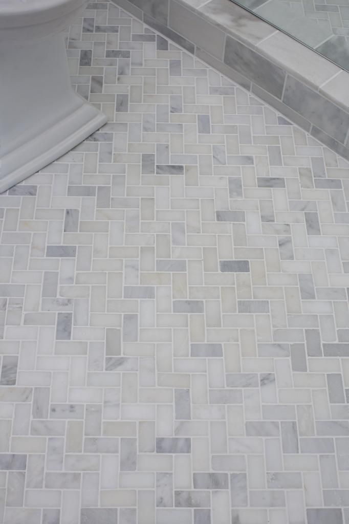 Guest bathroom reveal herringbone pattern herringbone for Bathroom flooring options