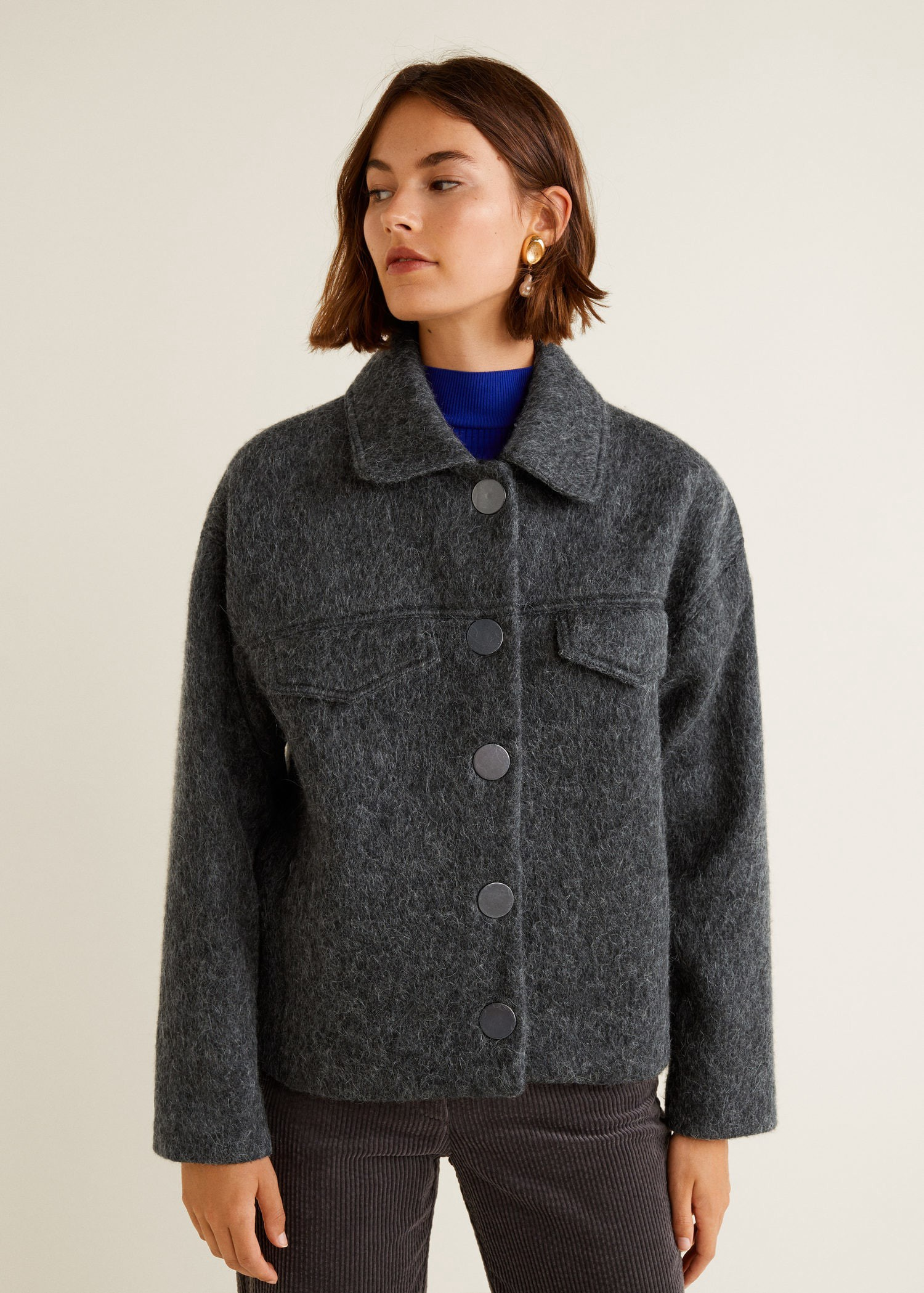 Buttoned wool jacket by Mango   Products   Pinterest   Jackets, Gray ... a42fdd07ccf8