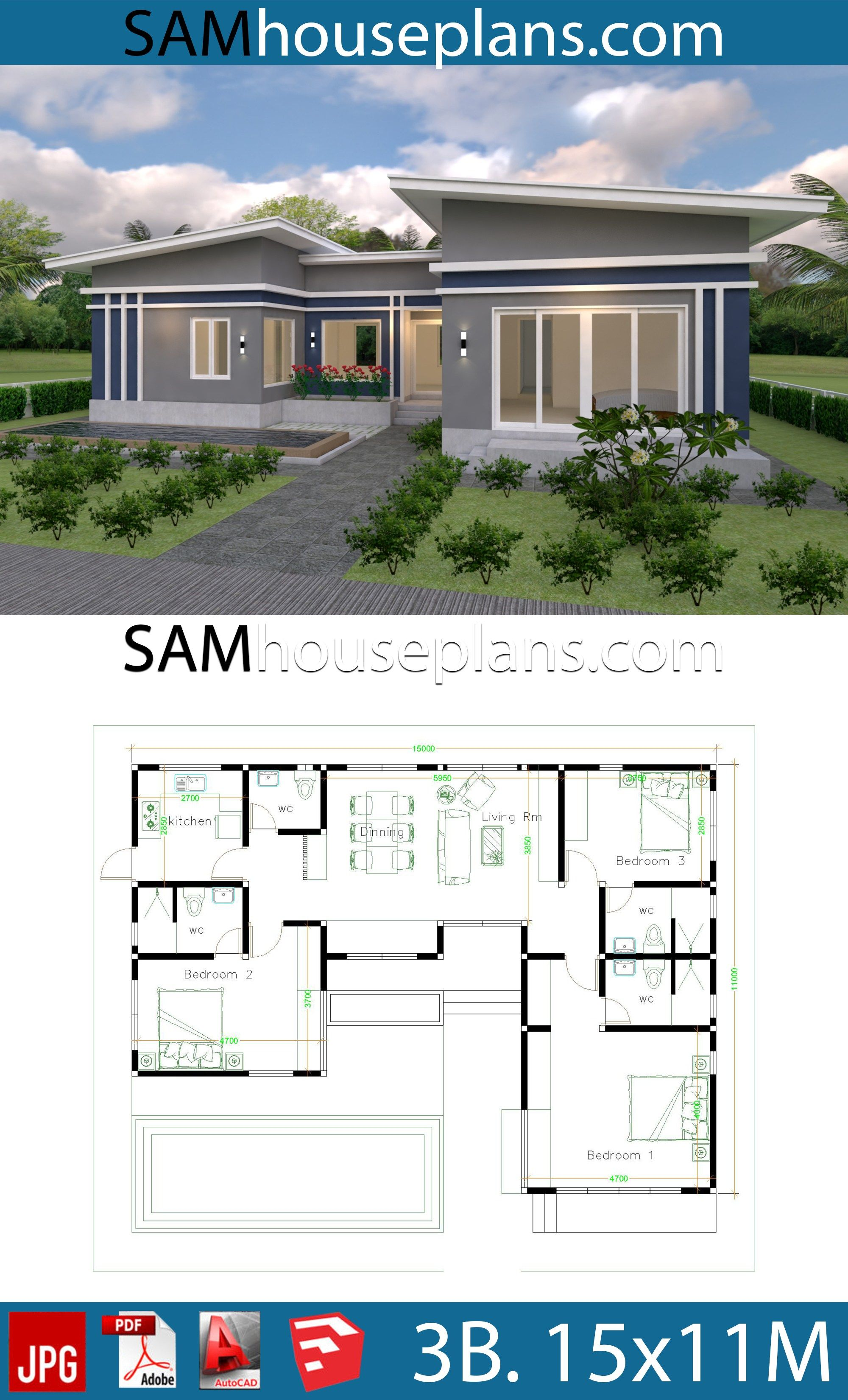 House Plans Idea 17x13 With 3 Bedrooms Slope Roof Sam House Plans In 2020 House Plans Mansion Small House Design Plans House Layout Plans