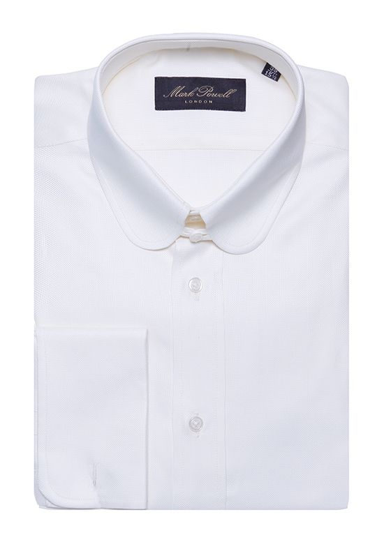 Round Tab Collar Shirt Plain White Mark Powell Stuffs