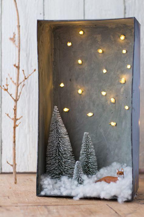 schneelandschaft im schuhkarton strom bastelideen. Black Bedroom Furniture Sets. Home Design Ideas