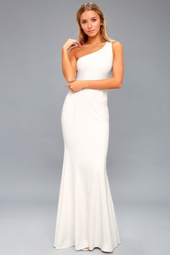 7d2a5d722d2 Chic and stretchy mermaid maxi dress. Lulus Exclusive! Your dream day  deserves the equally fantastic Brittany White One-Shoulder Maxi