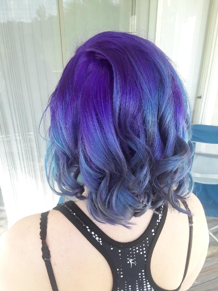 Purple To Blue Ombre Short Hair Short Ombre Hair Hair Styles Short Hair Styles