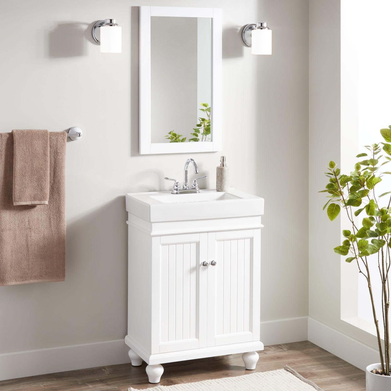 Signature Hardware Lander Vanity Mirror White Bathroom Mirrors Bathroom Mirror