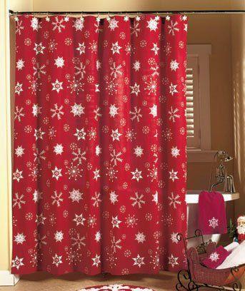 Christmas Wooden Snowflake Waterproof Shower Curtain In 2020
