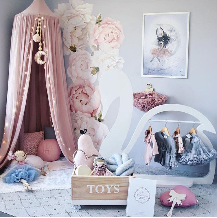 plush design little girl room. Little girls room with draping teepee tent  rose petal wall decals and soft plush textures