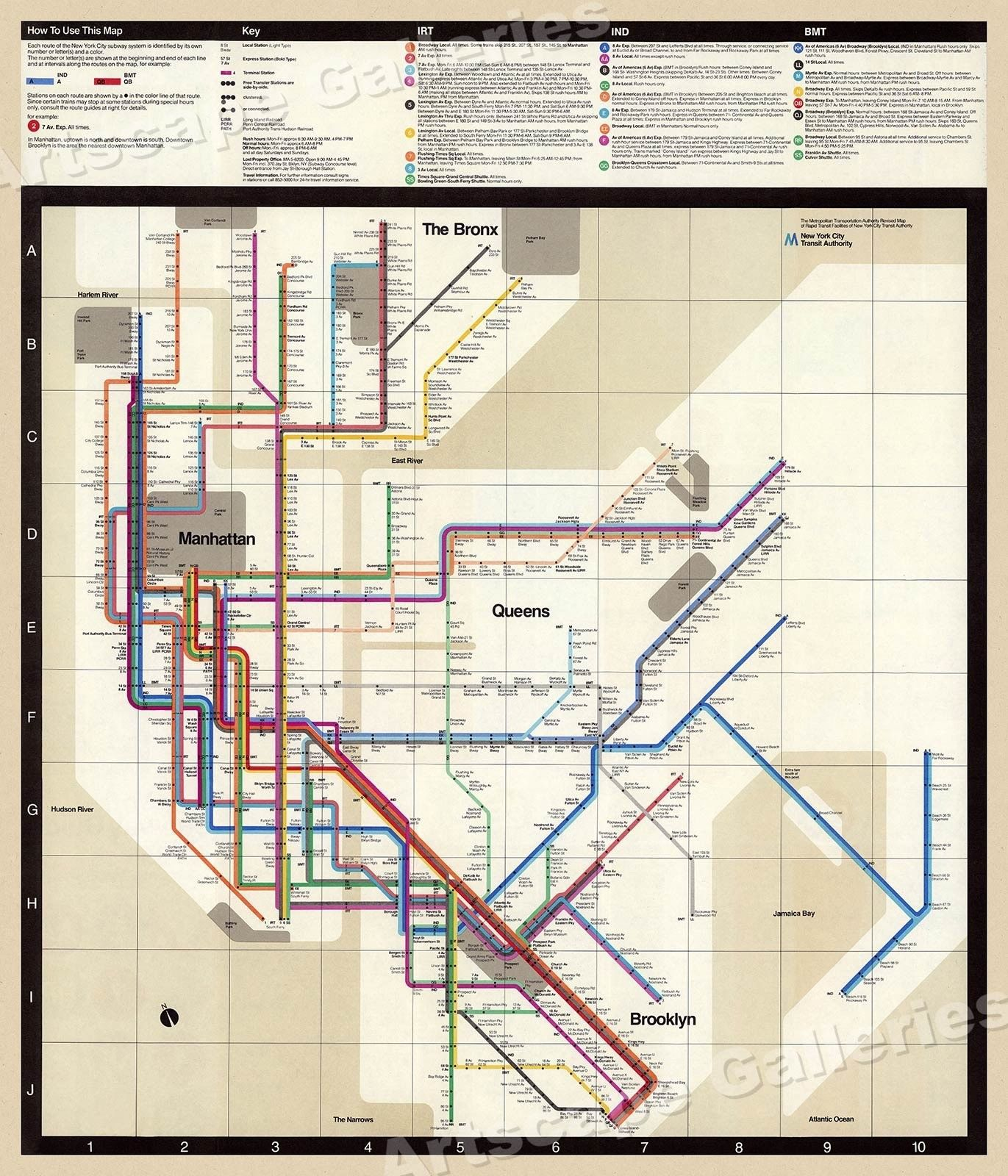 Massimo Vignelli 1972 Nyc Subway Map.1972 Massimo Vignelli New York Subway Map 24x28 Project Ml