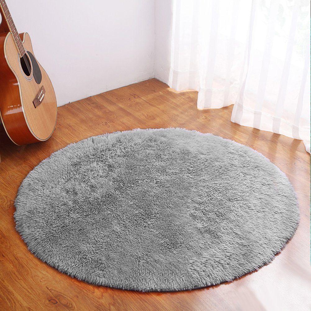 YJ.GWL Ultra Soft Round Purple Fluffy Area Rug for Girls Bedroom Anti-Slip Kids Nursery Carpet Children Room Decor 4 Feet