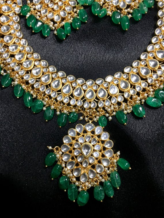 528237a59c7 High quality beautiful Kundan necklace set with green beads ...