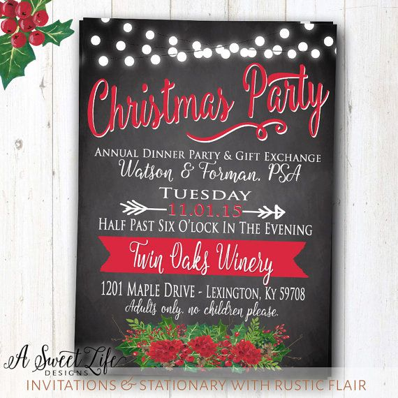 Rustic+Christmas+Dinner+Party+Invitation++by+ASweetLifeDesigns - holiday party invitation