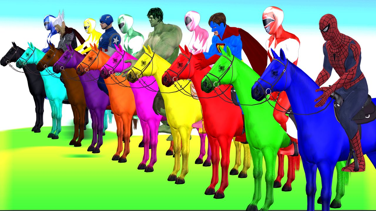 All Super Heroes And Power Rangers Horse Colours Riding Colours Video For Kids Moral Stories For Kids Color Songs Stories For Kids