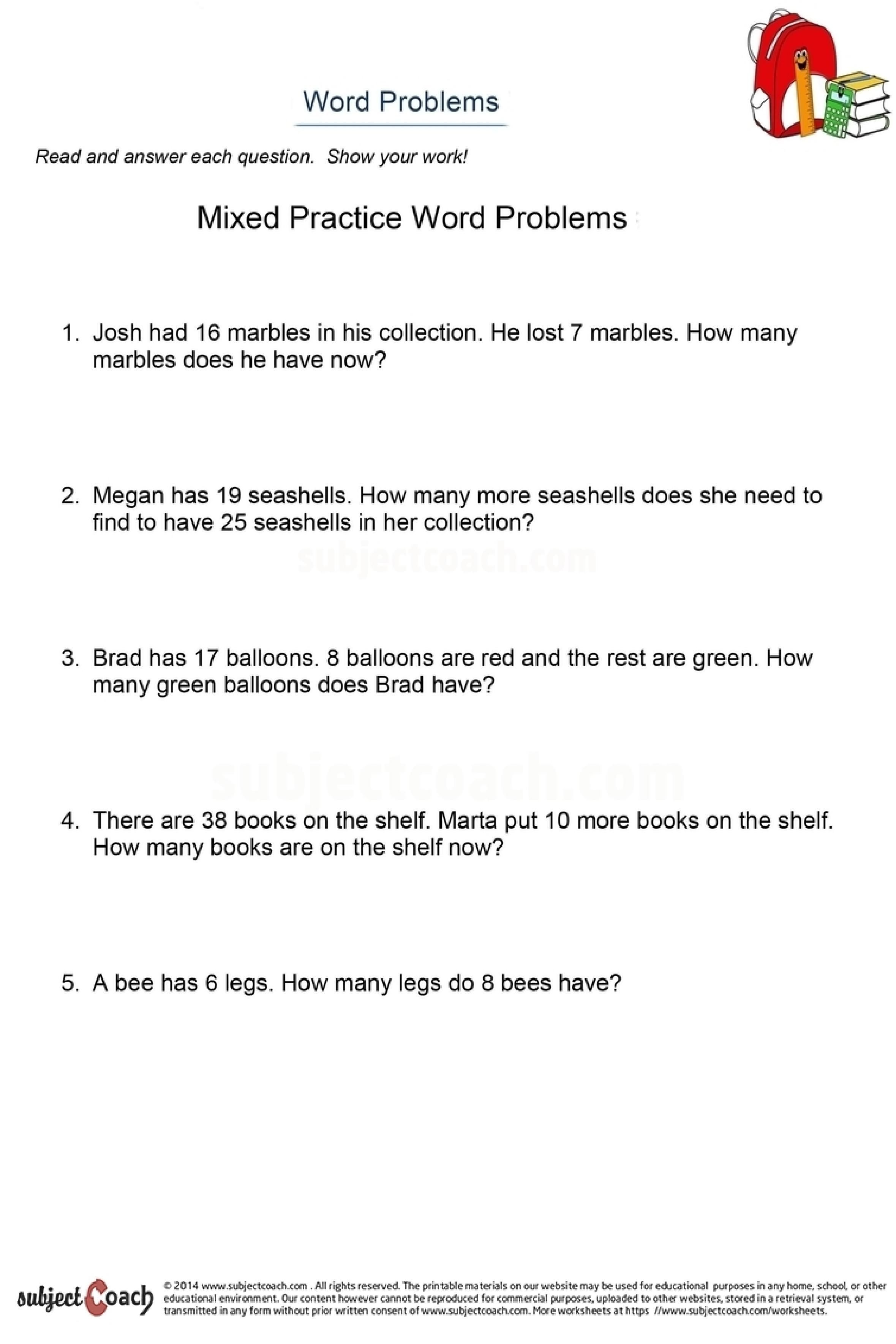 Math Worksheet For Year 2 Students Math Word Problems Help Deepen A Student S Understanding Of Mathematical Concepts And Free Math Elementary School Math Math