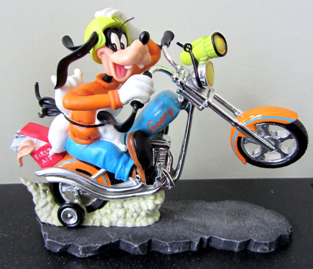 Rare Disney Le Goofy Motorcycle Wheely Biker Open Road