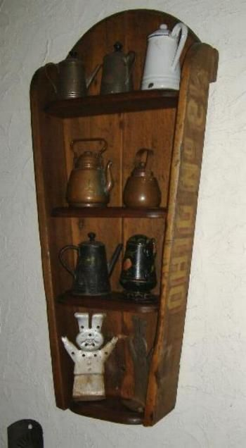 Hanging Shelf made by The Maine Pie Safe Company from an antique corn cutter tray