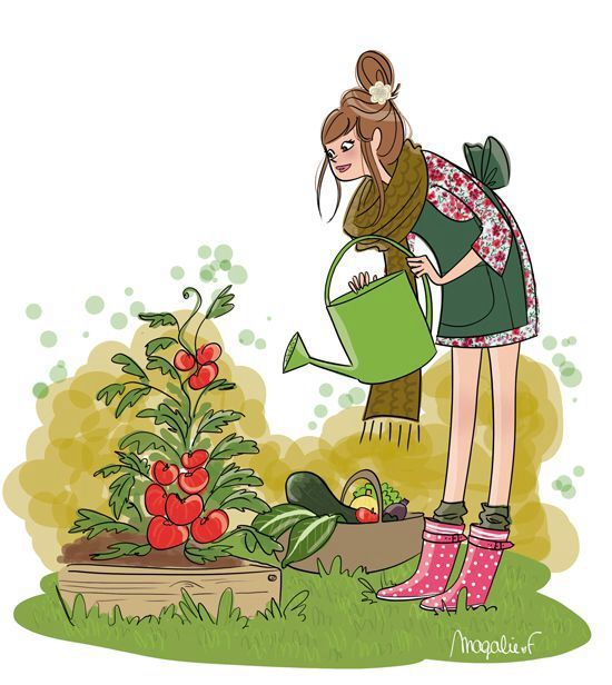 On aime tous jardiner en automne dessins kanako - Dessin de potager ...