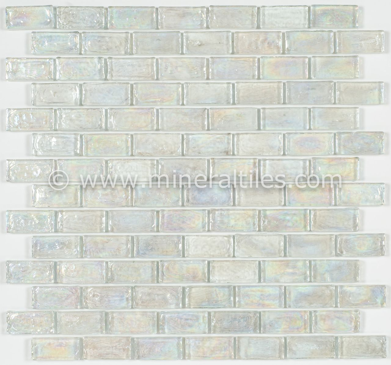 Iridescent Pool Glass Tile Clear 1x2 Iridescent Glass