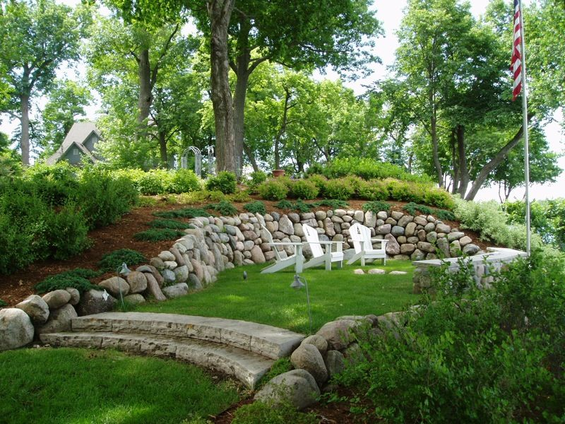 Landscaping And Hiding A Mound System Landscape Sline Work Hillside Rock Riprap