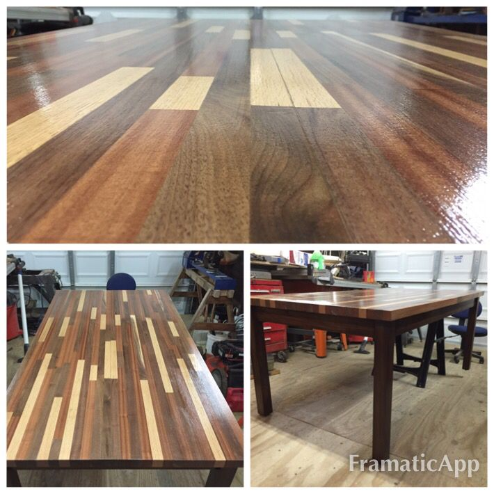Butcher Block Table Made With Walnut Mahogany And Red Oak The Frame