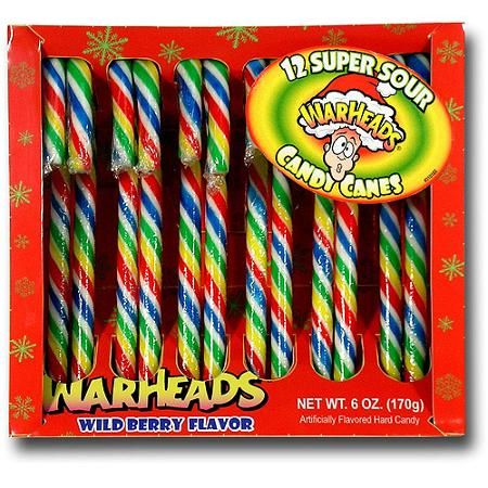 Warheads Super Sour Wild Berry Flavor Holiday Candy Canes, 12 ...