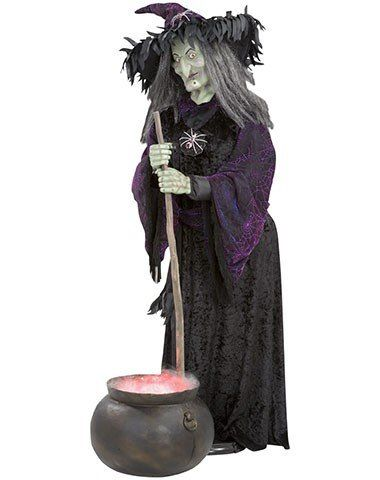 Witch Animated Life-Size with Misting Cauldron Halloween Decoration - witch decorations