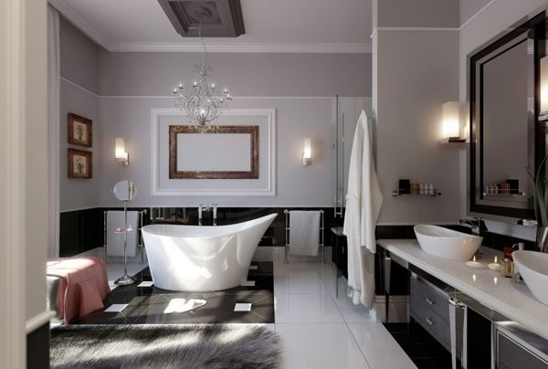 traumbad bodenfliesen schwarz weiß kronleuchter silber Bathroom