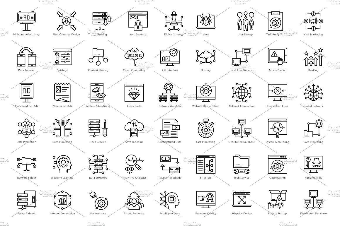 1458 Web and Seo Line Icons Set Line icon, Icon set