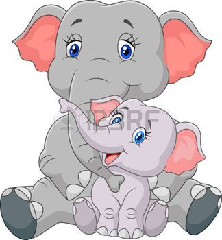 Safari Bebe Ilustracion Vectorial De Dibujos Animados Madre Y El