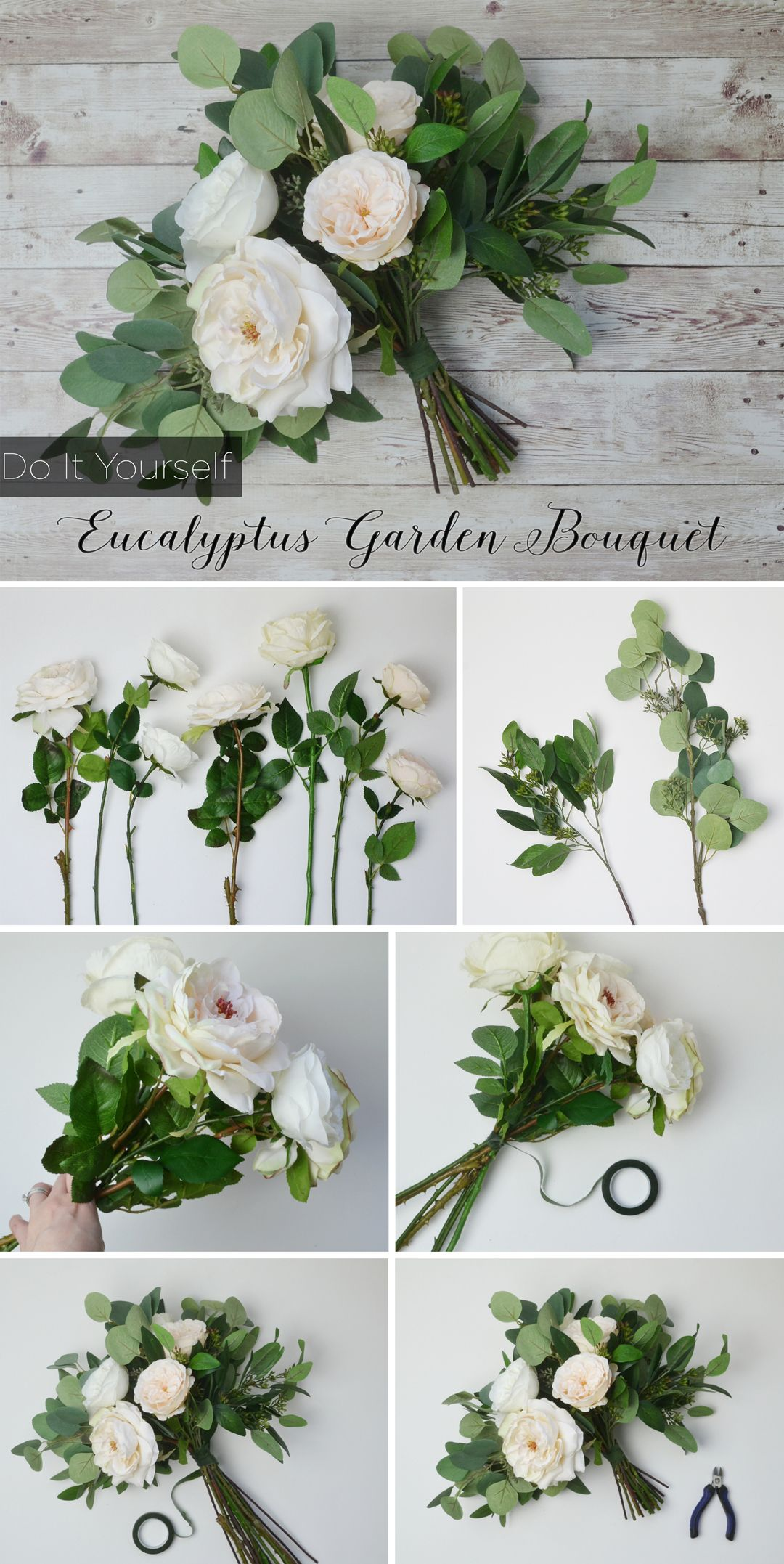 Cream white eucalyptus bouquet silk flowers bouquets and bridal