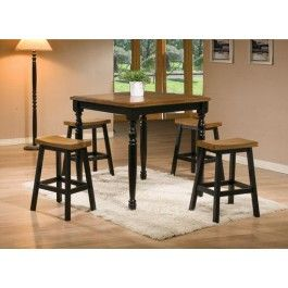 The Quails Run Collection is constructed from solid hardwood with an Almond and Ebony Finish. This 5 piece set includes the Quails Run square tall table and 4 Saddle barstools. Table Size: 36D x 36W x 36H
