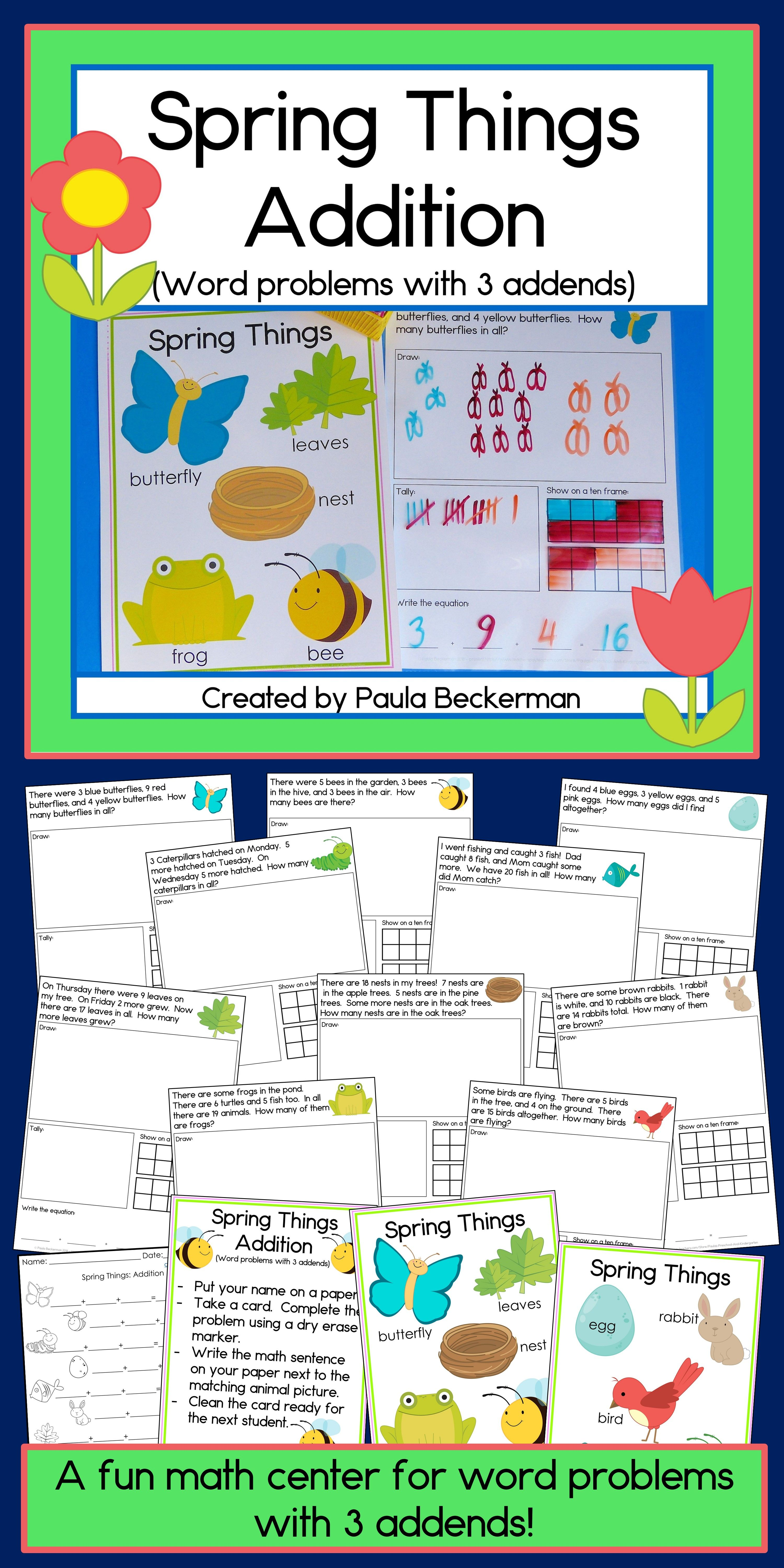 Spring Things Addition Word Problems With 3 Addends