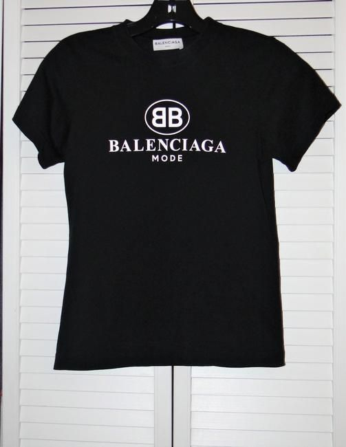 b12293a2 Balenciaga Black Fabulous Mode Logo-print Cotton T-shirt Tee Shirt Size 2 (