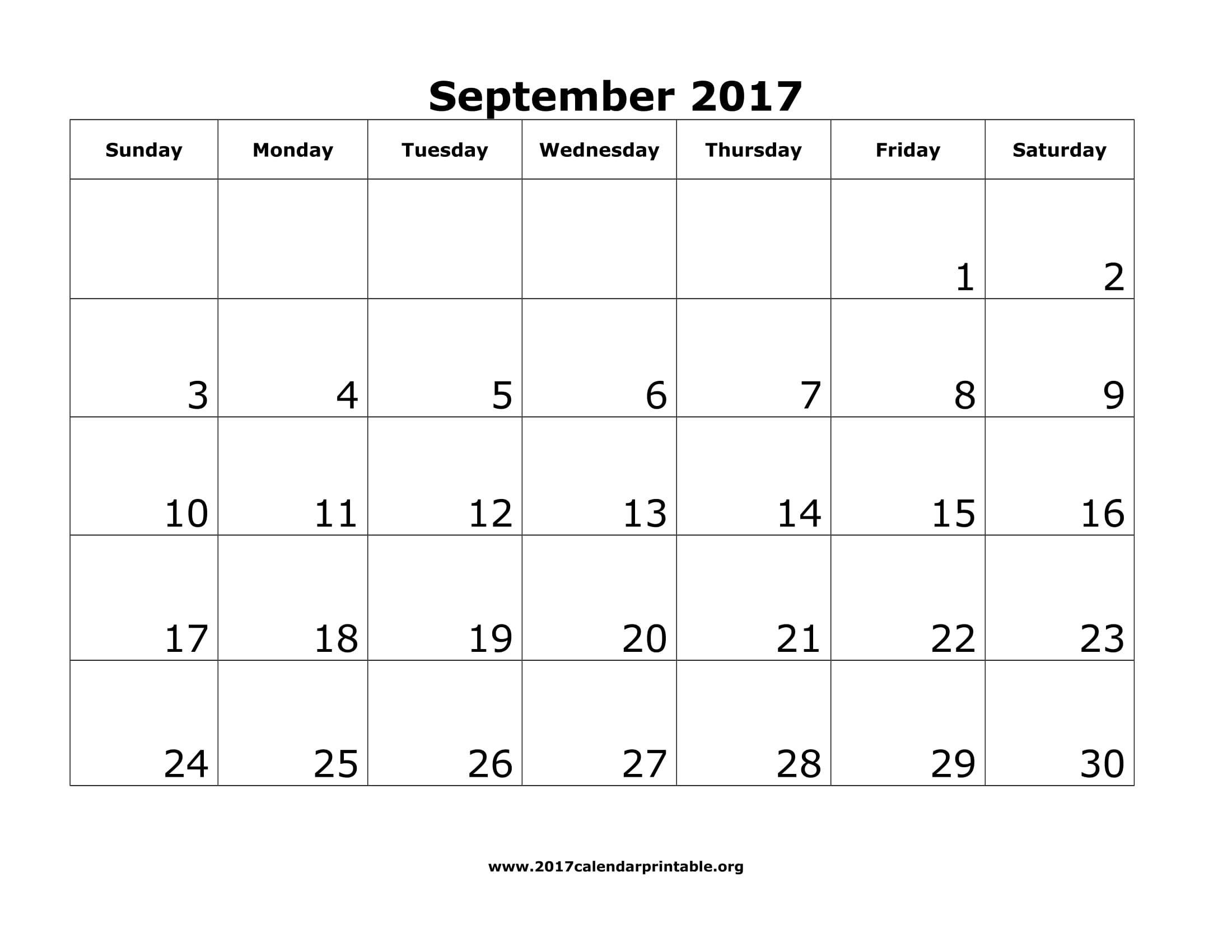 September 2017 Calendar Printable Template Http Socialebuzz Com