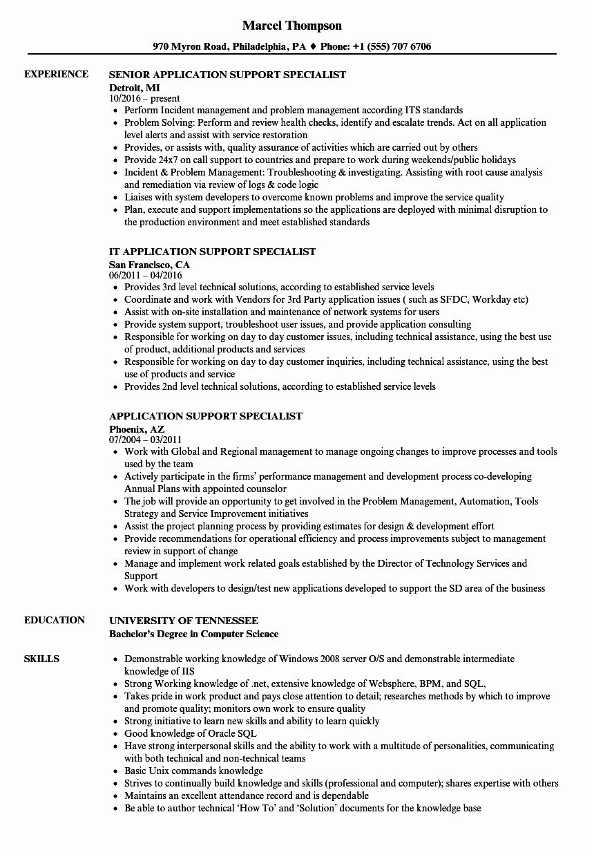 Customer Support Specialist Resume Awesome Application Support Specialist Resume Samples Marketing